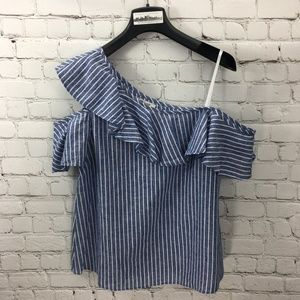 MADEWELL COLD SHOULDER STRIPED BLOUSE #123--273